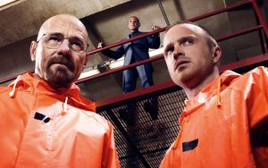 Walter, Jesse with Gus above them - Breaking Bad