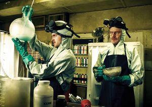 Aaron Paul and Bryan Cranston cook in Breaking Bad
