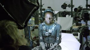 Lupita Nyong'o behind-the-scenes motion-capture suit as Maz