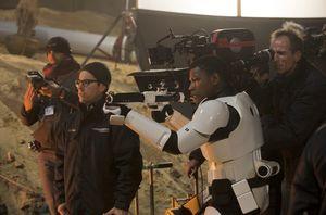 John Boyega and J.J. Abrams on the set