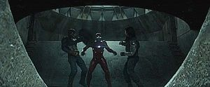 Captain America and Iron Man fight
