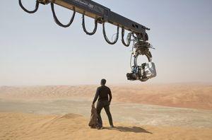 John Boyega on set for The Force Awakens