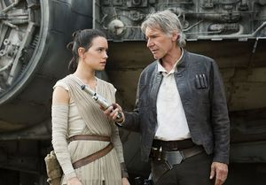 Daisy Ridley and Harrison Ford in The Force Awakens