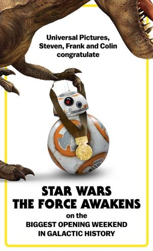Universal Pictures congratulates Star Wars: The Force Awaken