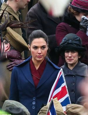 Gal Gadot at World War I Rally in Wonder Woman set photo