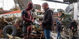 Director Tim Miller on the set of Deadpool