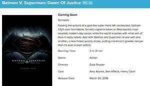 AMC Theaters Website Confirms Batman v Superman Run-time