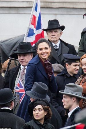 Gal Gadot smiles on the set of Wonder Woman