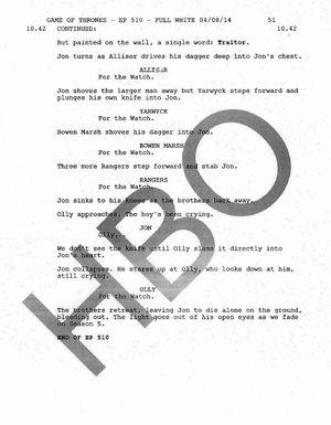 Jon Snow's death script page 3