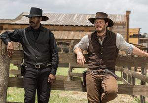 Denzel Washington and Chris Pratt in The Magnificent Seven