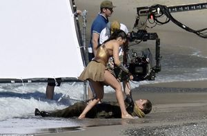 Gal Gadot saves Chris Pine on the set of Wonder Woman