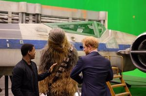 Chewbacca on set