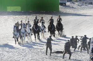 Battle scene on the set of Wonder Woman