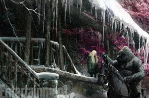 Nova beside the gorilla, Luca, in concept art for War for th