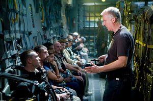 James Cameron on set