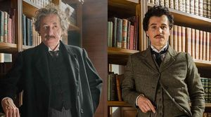 "Geoffrey Rush and Johnny Flynn as older and younger Albert Einsteins in ""Genius"""