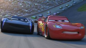 "Jackson Storm and Lightning McQueen battle for the lead in ""Cars 3"""