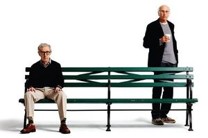 Publicity photo with Woody Allen and Larry David for Whateve