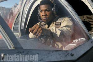 John Boyega's Finn, learning to fly.  The ex-stormtrooper wa