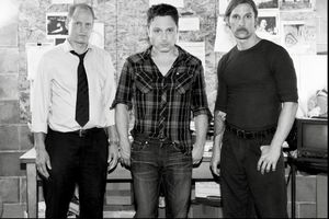 Nic Pizzolatto (center) on the set of True Detective season
