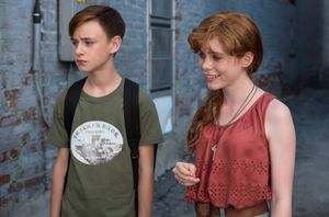 "Jaeden Lieberher and Sophia Lillis in ""It"""
