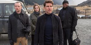 Simon Pegg, Rebecca Ferguson, Tom Cruise and Ving Rhames