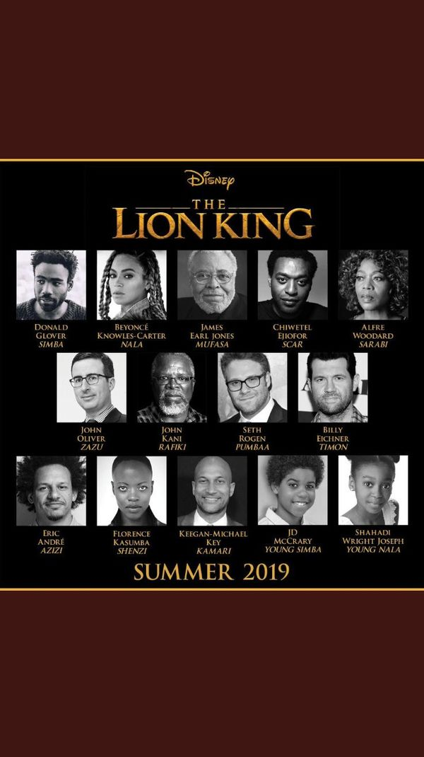 Disney Announces The Full Cast for Upcoming 'The Lion King' Remake