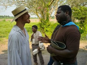 Director Steve McQueen and Michael Fassbender on the set of