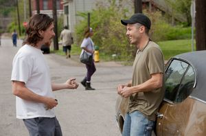 Bale and Affleck having fun on the set of Out of the Furnace