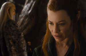 Evangeline Lilly as Tauriel, looking puzzled