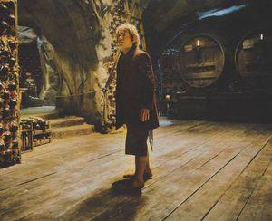 The Hobbit walking around in somekind of cellar