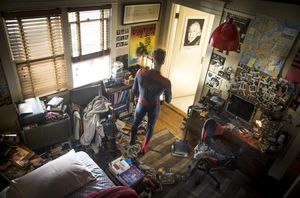 Peter Parker surveys his bedroom