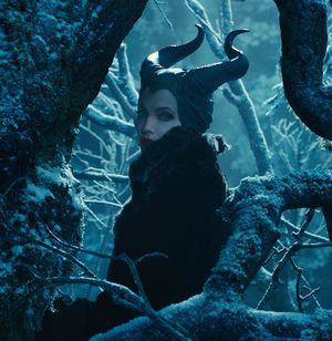 Angelina Jolie Maleficent in the blue woods