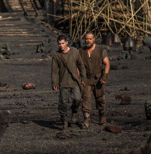 Logan Lerman and Russell Crowe walk around in Noah