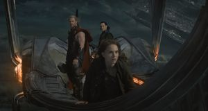 On an actual flying ship in Thor: The Dark World