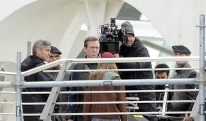George Clooney & Hugh Laurie on the set of Disney's Tomorrow