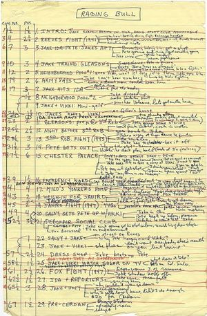 Paul Schrader's screenplay plan for Raging Bull