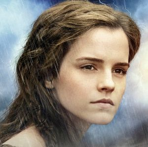 Emma Watson close-up in the rain Noah