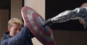 Captain America protected by shield