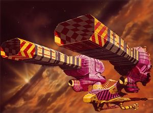 Brightly coloured spaceship