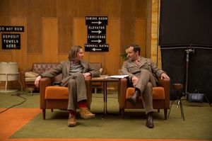 Wes Anderson and Jude Law having a chin-wag