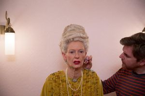 Tilda Swinton getting her make-up