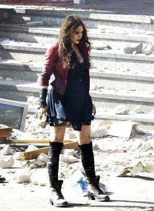 Elizabeth Olsen as Scarlet Witch filming on location for '