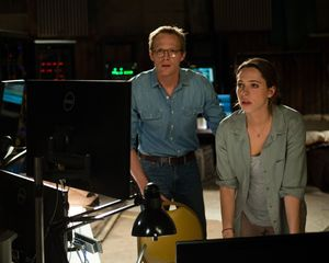 Rebecca Hall and Paul Bettany in the lab in Transcendence