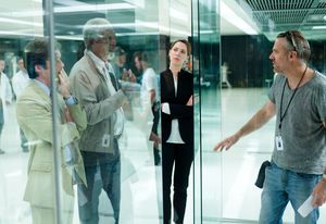 Morgan Freeman on the set of Transcendence