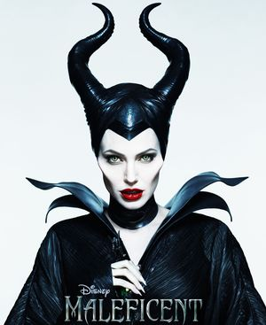 Angelina Jolie creepy clean white Maleficent poster
