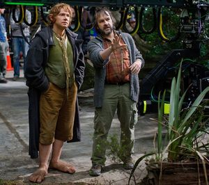 Peter Jackson and Martin Freeman filming the final Hobbit fi