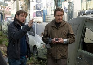 Director Gareth Edwards and Bryan Cranston working on Godzil