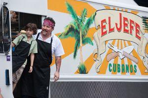 Carl Casper and son in their food van, El Jefe