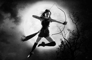 Bow and arrow in front of the moon